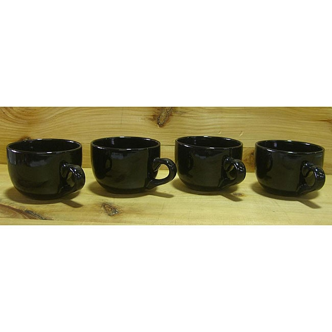 Gloss Black 22 Oz Jumbo Ceramic Coffee Tea Mugs Set Of 4