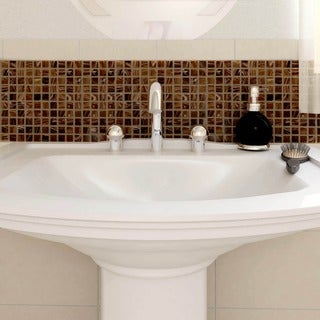 SomerTile 12x12-inch Cuivre Brown Gold Glass Mosaic Wall Tile (13 tiles/13.27 sqft.)