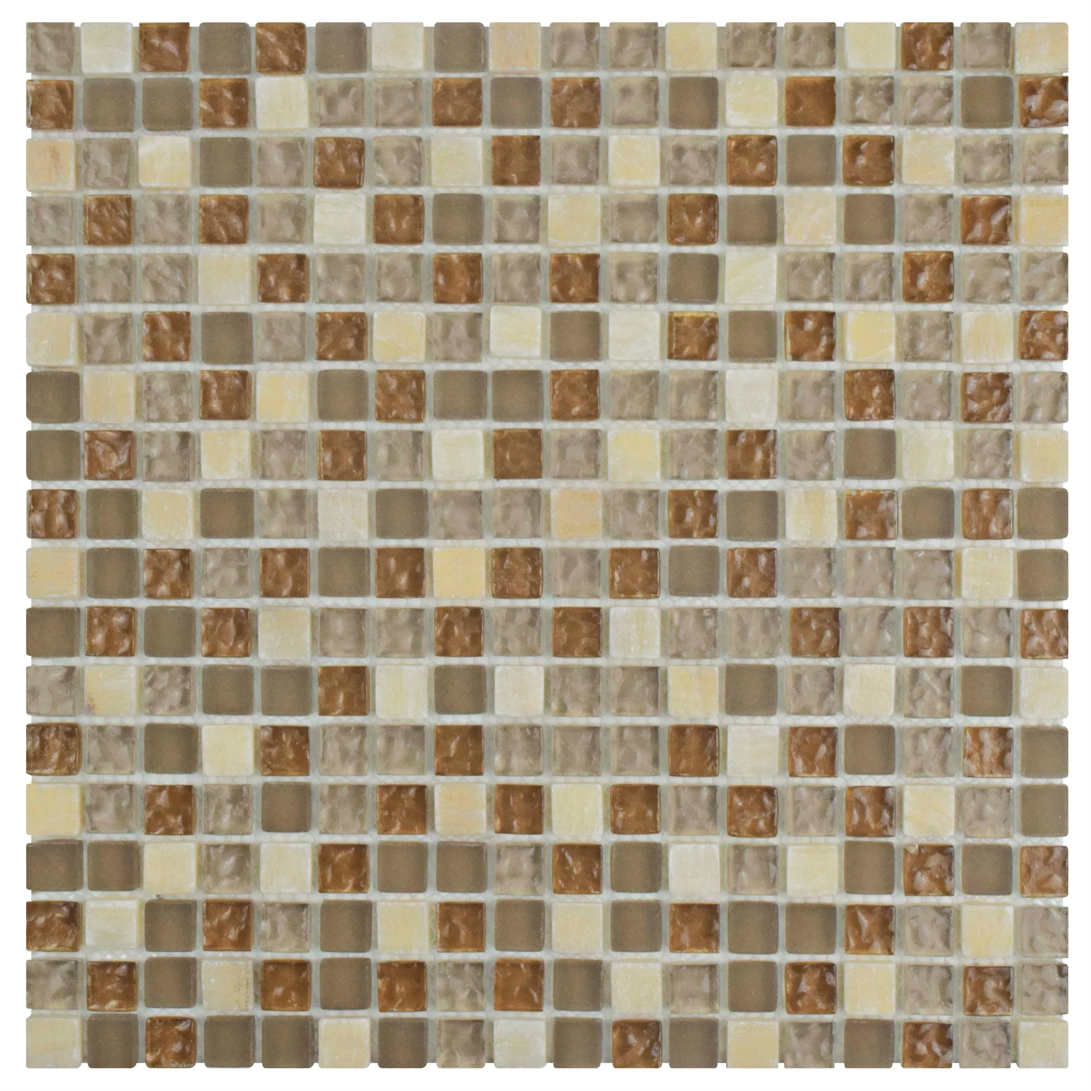 Somertile 12x12-in Reflections Mini 5/8-in Amber Glass/St...