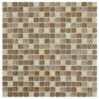 SomerTile 12x12-in Reflections Mini 5/8-in Amber Glass/Stone Mosaic Tile (Pack of 10)