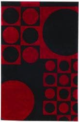 Hand-tufted Geo Circles Red Wool Rug (8' x 10') - Thumbnail 2