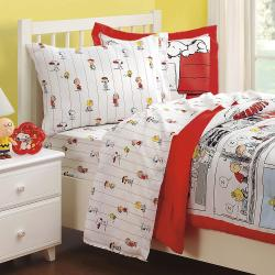 Peanuts Comic Cotton 132 Thread Count Twin Sheet Set - Thumbnail 2