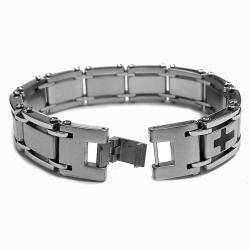 Oliveti Stainless Steel Resin 'Crosses' Bracelet