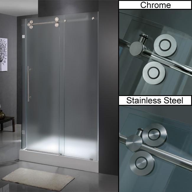"""VIGO 36 x 48 Frameless 3/8"""" Frosted Right Shower Enclosure with Base"""