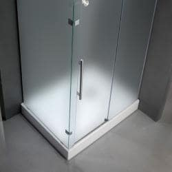"""VIGO 36 x 48 Frameless 3/8"""" Frosted Right Shower Enclosure with Base - Thumbnail 1"""
