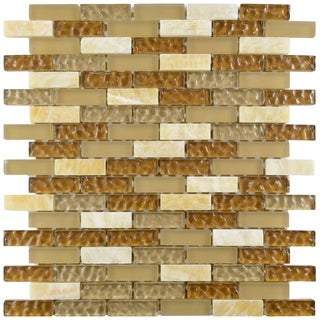 SomerTile 12x12-in Reflections Subway 5/8x2-in Amber Glass/Stone Mosaic Tile (Pack of 10)