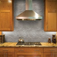 SomerTile 11.75x11.75-inch Chromium Subway Stainless Steel over Porcelain Mosaic Wall Tile (10 tiles/9.6 sqft.)