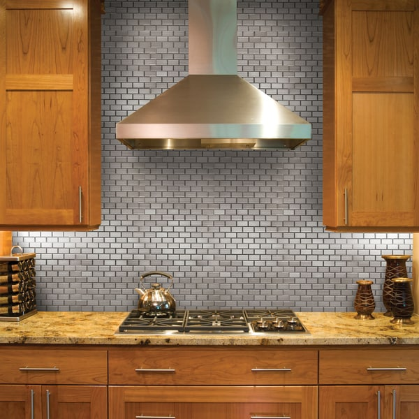 steel subway 75x2 5 in metal over ceramic mosaic tile pack of 10