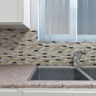 SomerTile 10.75x11.75-inch Reflections Subway River Glass and Stone Mosaic Wall Tile (10 tiles/8.8 sqft.)