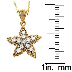 Beverly Hills Charm 18k Gold over Silver 1/5ct TDW Diamond Starfish Necklace - Thumbnail 2
