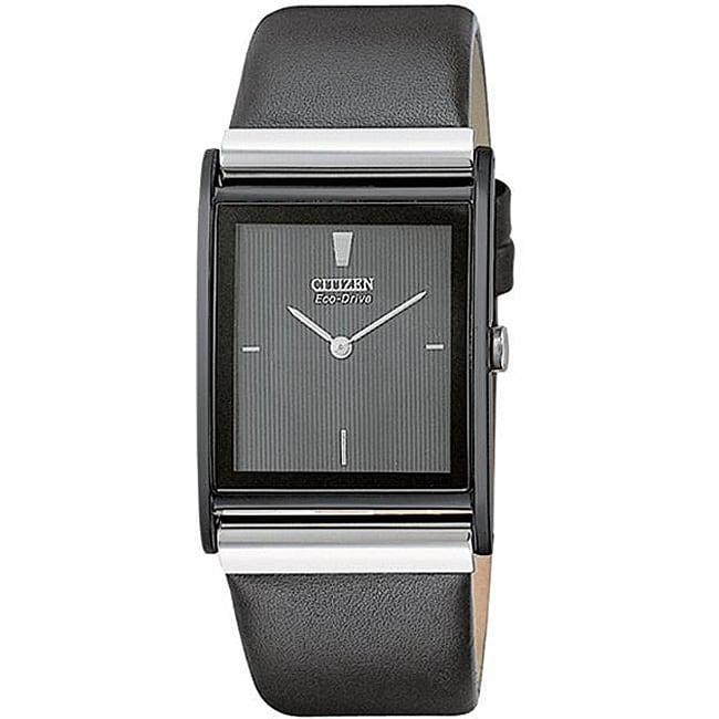 Citizen Men's Eco-Drive Black Leather Strap Watch