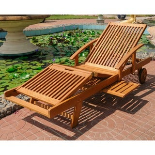 International Caravan Royal Tahiti Yellow Balau Wood Large Chaise Lounge  sc 1 st  Overstock : wood patio chaise lounge - Sectionals, Sofas & Couches