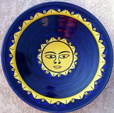 Handmade 'Sunsmile' Large Ceramic Plate (Morocco)