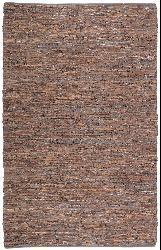 Hand-woven Brown Leather Chindi Rug (2'5 x 4'2) - Thumbnail 1