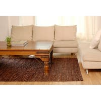 Hand-woven Brown Leather Chindi Rug (2'5 x 4'2) - 2'5 x 4'2