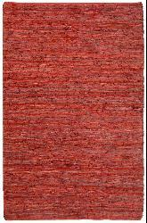Hand-woven Red Leather Chindi Rug (2'5 x 4'2)