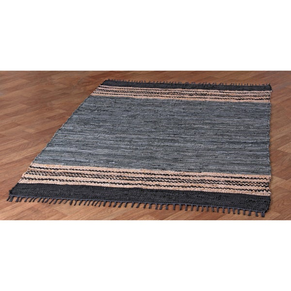 Hand-woven Grey Leather Chindi Rug (8' x 10') - 8' x 10'