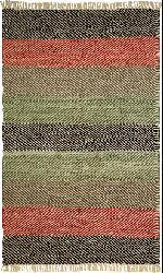 Hand-woven Striped Leather Chindi Rug (8' x 10')