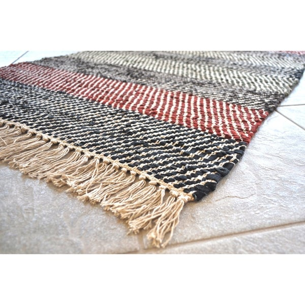 Hand-woven Striped Leather Chindi Rug - 8' x 10'