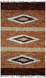 Hand-woven Leather Chindi Diamond Rug (8' x 10') - Thumbnail 1