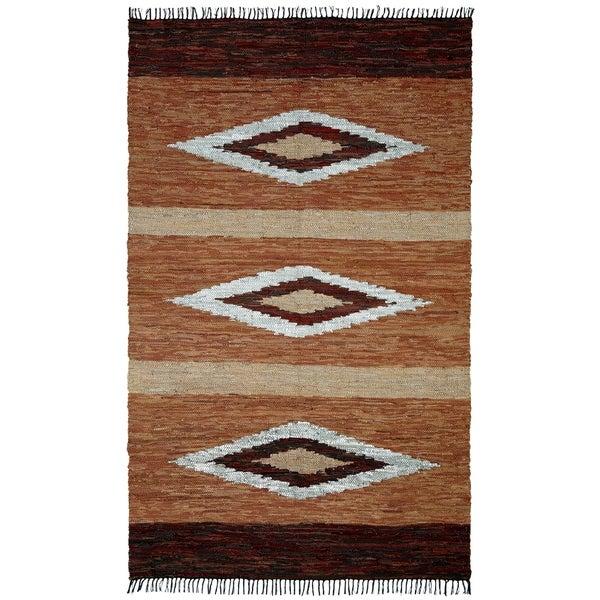 Hand-woven Leather Chindi Diamond Rug (8' x 10') - 8' x 10'
