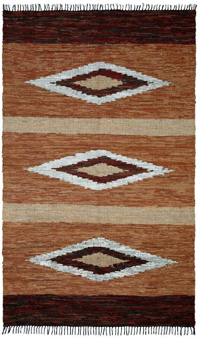Hand-woven Leather Chindi Diamond Rug (8' x 10')