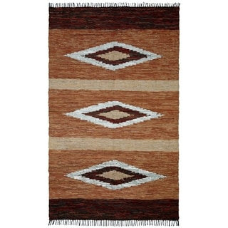 Hand-woven Leather Chindi Diamond Rug (8' x 10') - 8' x 10'