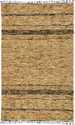 Hand-woven Black and Tan Leather Chindi Rug (8' x 10')