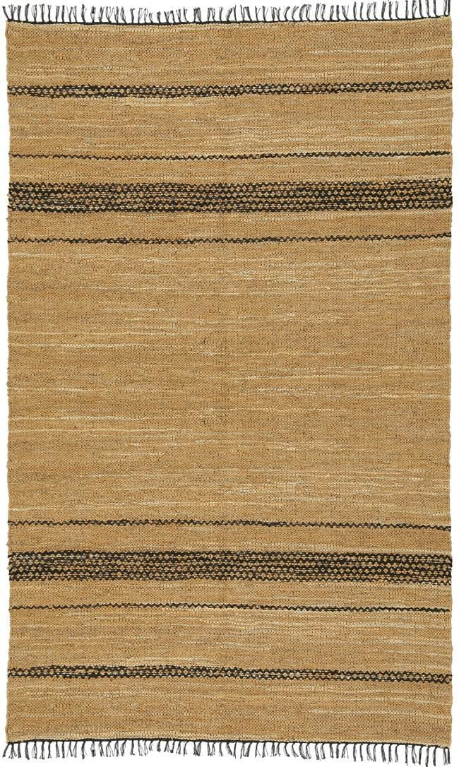hand woven black and tan leather chindi rug 8 39 x 10. Black Bedroom Furniture Sets. Home Design Ideas