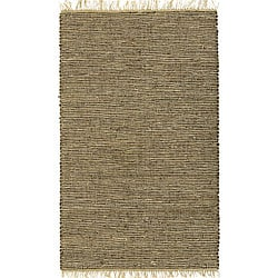 Hand-woven Brown Leather and Hemp Rug (2'5 x 4'2)