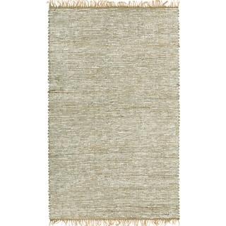 Hand-woven White Leather and Hemp Rug (2'5 x 4'2)