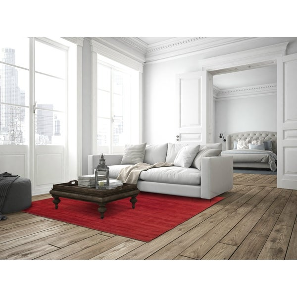 Red Fusion Wool Rug (8' x 10') - 8' x 10'