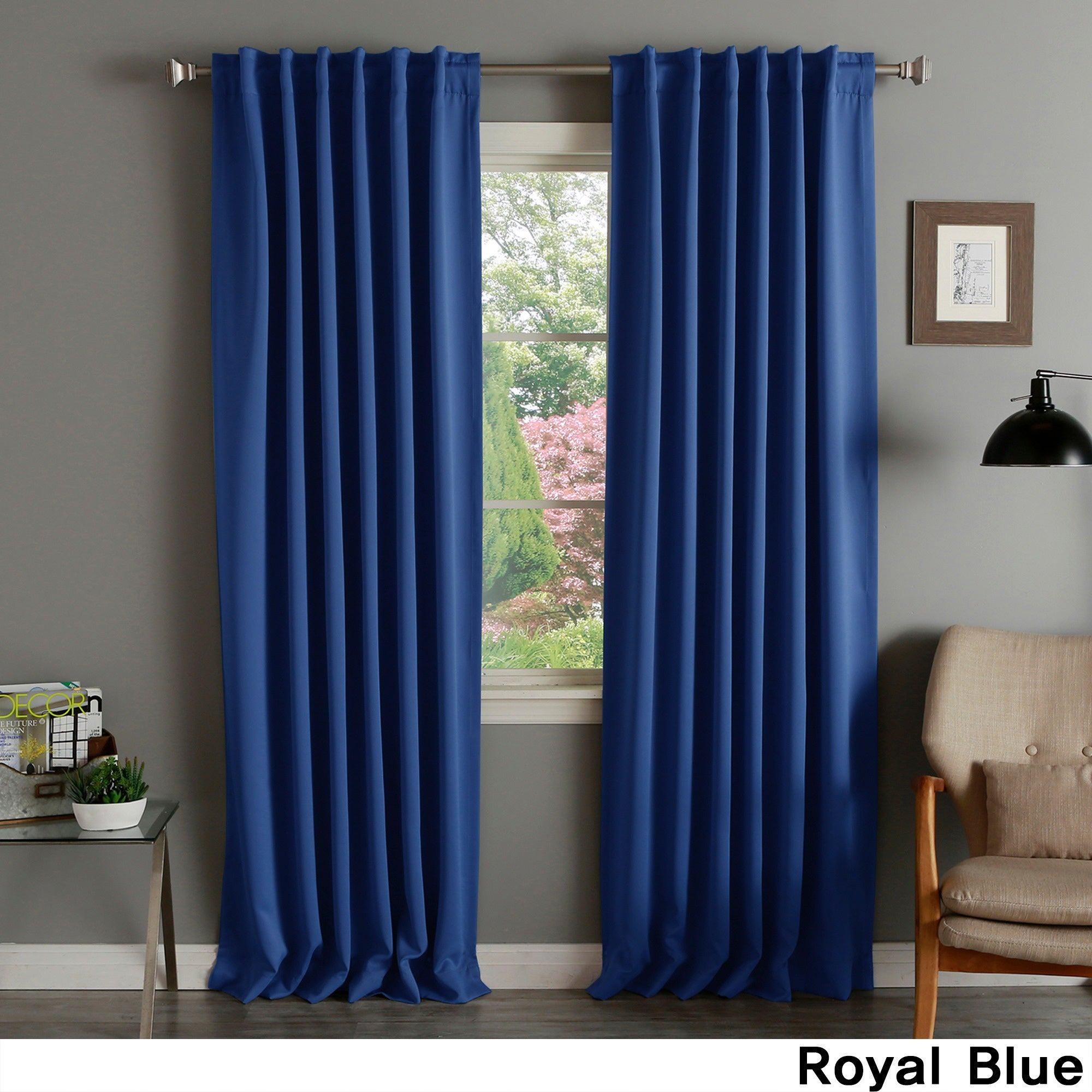 Aurora Home Solid Thermal Insulated 12 inch Blackout Curtain Panel Pair    12 X 12   12 X 12
