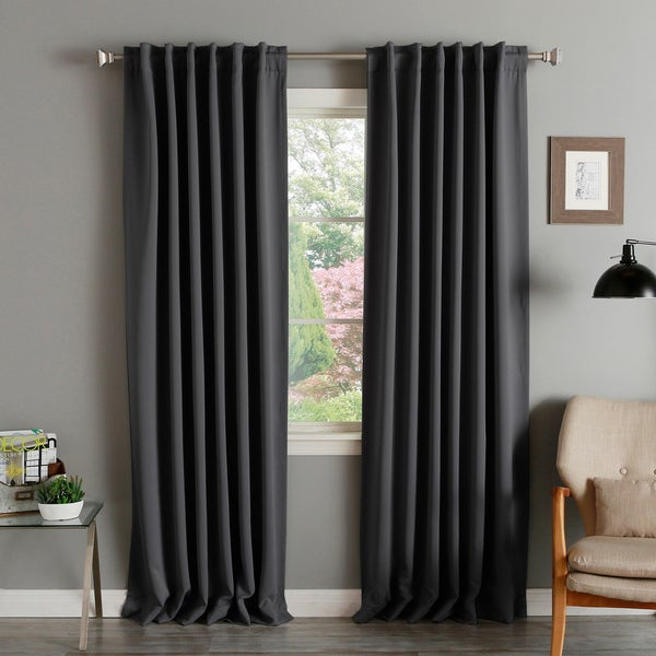 shop aurora home solid thermal insulated 108 inch blackout curtain panel pair 52 x 108 on. Black Bedroom Furniture Sets. Home Design Ideas