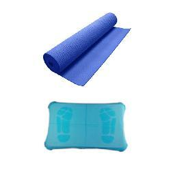 Yoga Mat and Silicone Case Combo for Nintendo Wii Fit- Blue