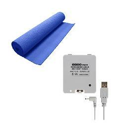 Yoga Mat and Battery Pack Combo for Nintendo Wii Fit- Blue