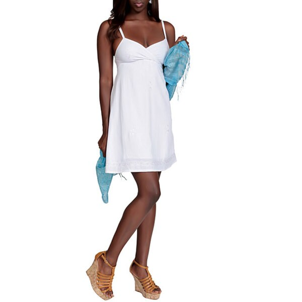 1 World Sarongs Women's Mini White Dress (Indonesia)