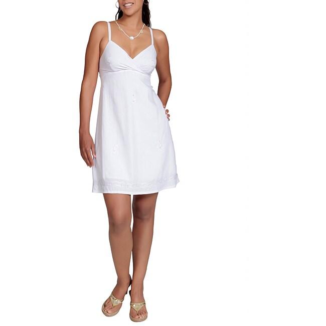 Handmade 1 World Sarongs Women's Lined White Mini Dress (Indonesia)