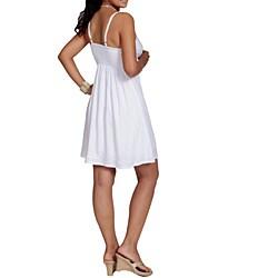 Handmade 1 World Sarongs Women's Lined White Mini Dress (Indonesia) - Thumbnail 1