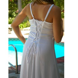 Handmade 1 World Sarongs Women's Long White Embroidered Sequined Dress (Indonesia) - Thumbnail 1