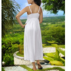 Handmade 1 World Sarongs Women's Long White Embroidered Sequined Dress (Indonesia) - Thumbnail 2