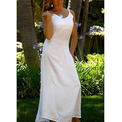 1 World Sarongs Women's Long White Embroidered Sequined Dress (Indonesia)