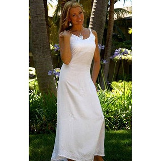 Handmade 1 World Sarongs Women's Long White Embroidered Sequined Dress (Indonesia) (2 options available)