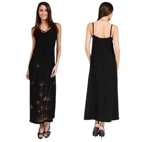 Handmade 1 World Sarongs Women's Hawaiian-style Batik-print Long Black Dress (Indonesia)