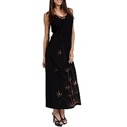 1 World Sarongs Women's Hawaiian-style Batik-print Long Black Dress (Indonesia)