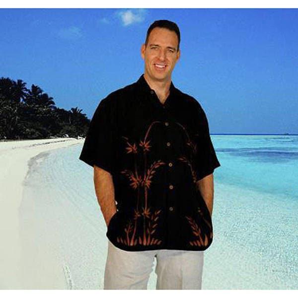 1 World Sarongs Men's Black Rayon Hawaiian Aloha Shirt (Indonesia)