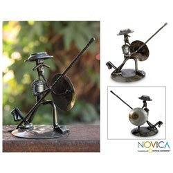 Recycled Auto Parts 'Quixote in Love' Statuette , Handmade in Mexico