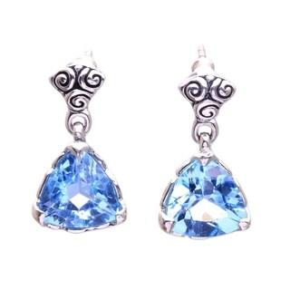 Handmade Silver Blue Topaz 'Mystic Trinity' Dangle Earrings (Indonesia)