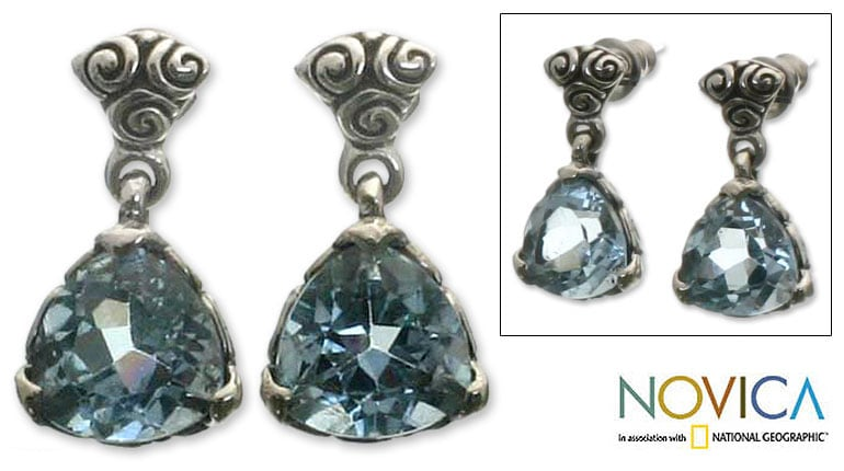 Handmade Silver Blue Topaz 'Mystic Trinity' Dangle Earrings (Indonesia) - Thumbnail 0