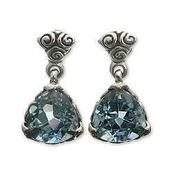 Silver Blue Topaz 'Mystic Trinity' Dangle Earrings (Indonesia)